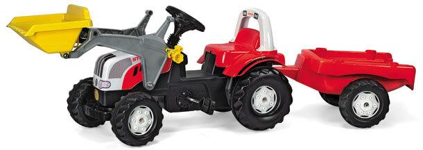 Rolly Kid Steyr pedálos játék traktor homlokrakodóval és utánfutóval, Rolly Toys