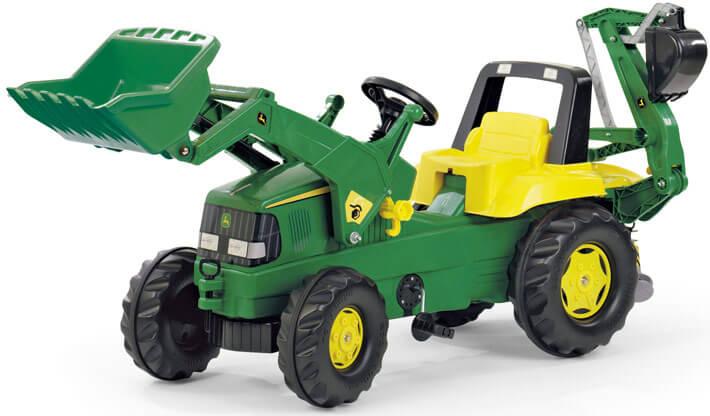 John Deere Trac pedálos traktor homlokrakodóval és kotrógéppel, Rolly Toys