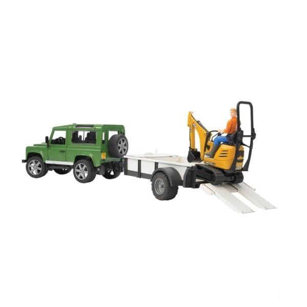 Land Rover játék autó pótkocsival és kotrógéppel,  Bruder