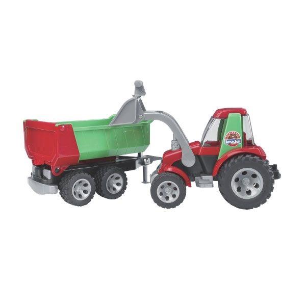 Roadmax játék traktor pótkocsival,  Bruder