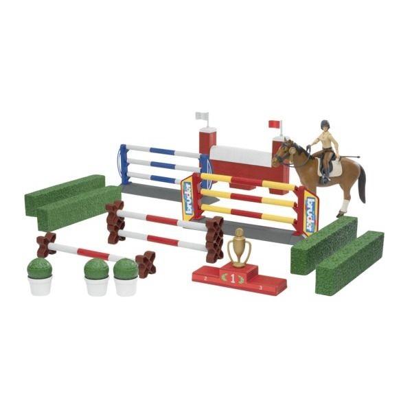 Játék díjugrató pálya lóval és lovassal,  Bruder