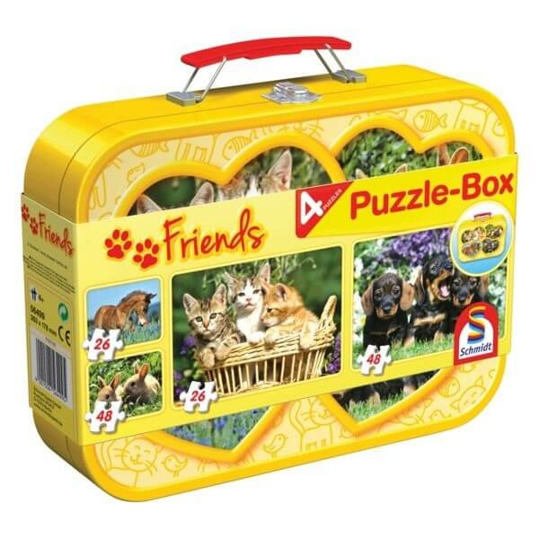 Friends 4 db játék Puzzle fémdobozban, Schmidt