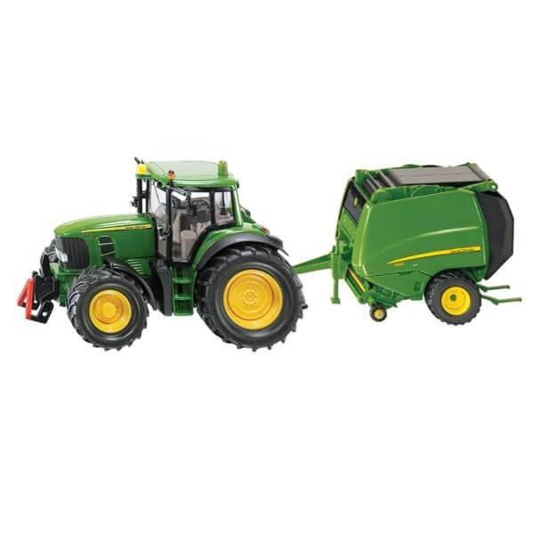 John Deere 6920 játék traktor körbálázóval, Siku