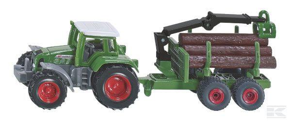 Játék traktor erdészeti pótkocsival, Siku