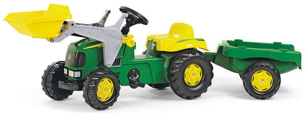 John Deere RollyKid pedálos traktor homlokrakodóval és utánfutóval, RollyToys