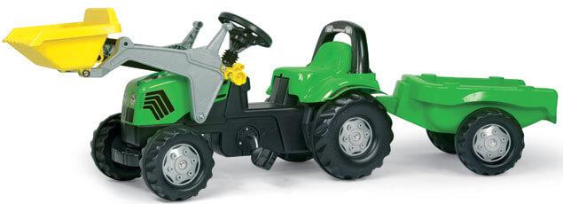 Rolly Kid Deutz pedálos traktor homlokrakodóval és utánfutóval, Rolly Toys