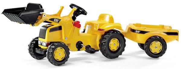 Rolly Kid Caterpillar CAT pedálos traktor homlokrakodóval és utánfutóval, Rolly Toys
