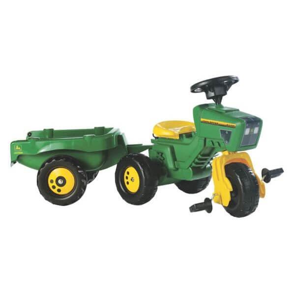 John Deere háromkerekű pedálos játék traktor kormánykerékkel és utánfutóval, Rolly Toys
