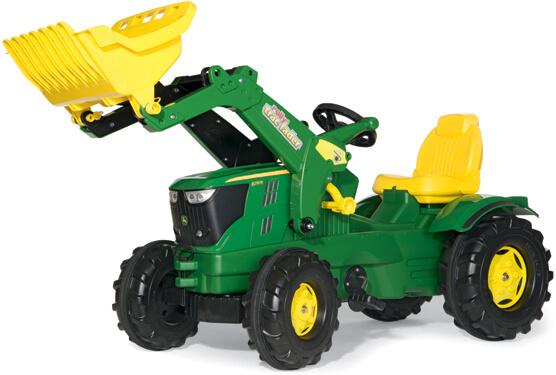 John Deere 6210 R pedálos traktor homlokrakodóval, RollyToys