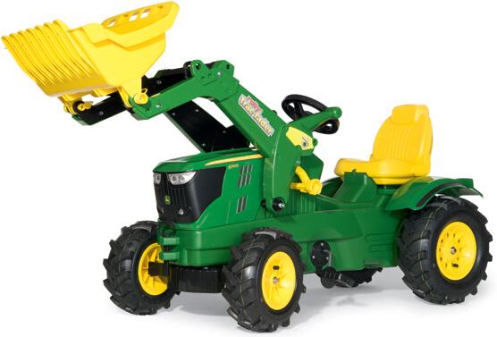 John Deere 6210 R pedálos traktor homlokrakodóval és légtömlős gumiabroncsokkal, RollyToys