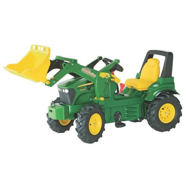 John Deere 7930 pedálos traktor homlokrakodóval, légtömlős gumiabronccsal és sebességváltóval, RollyToys