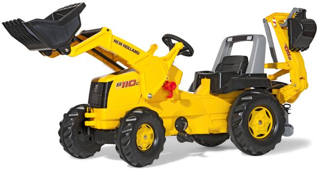 New Holland pedálos traktor homlokrakodóval és kotrógéppel, RollyToys
