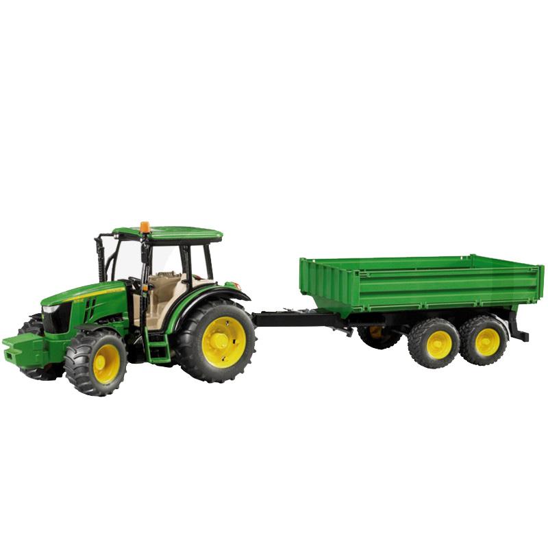 John Deere 5115M Bruder Traktor lenyitható oldalfalú pótkocsival
