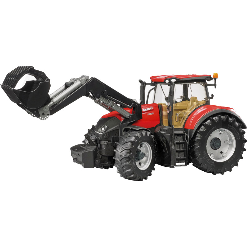 Case IH Optum 300 CVX Bruder Traktor, homlokrakodóval