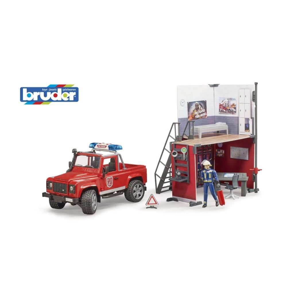 Bruder tűzoltóállomás - land rover tűzoltóautóval