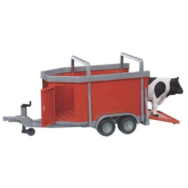 Haszonállat-szállító játék pótkocsi 1 tehénnel,  Bruder