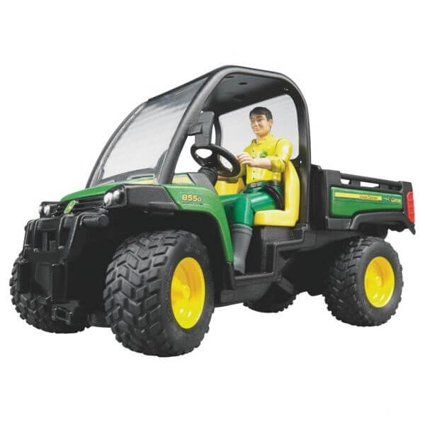 John Deere Gator 855D játék traktor vezetővel,  Bruder