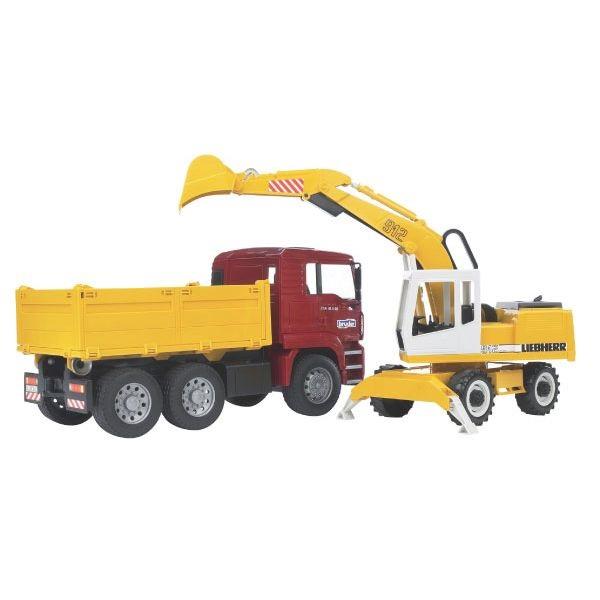 MAN játék teherautóbillenőplatós kocsival és mobil hidraulikus kotrógéppel,  Bruder