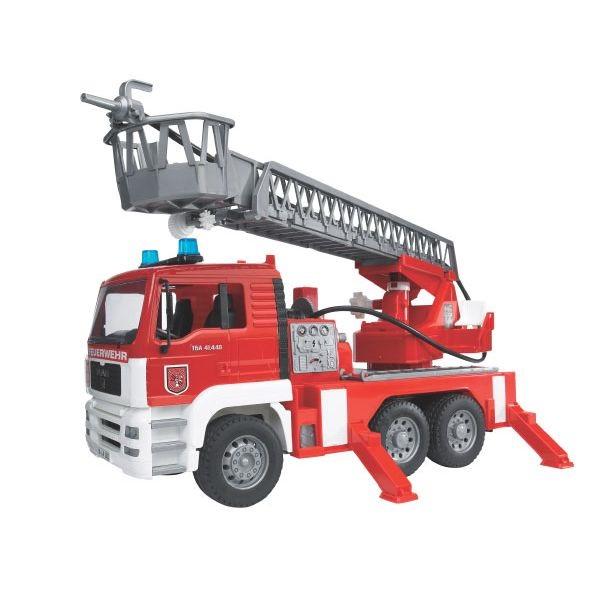 MAN játék tűzoltóautó forgatható létrával, hang és villogó egységgel,  Bruder