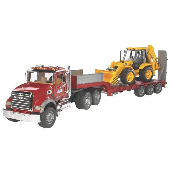 Mack Granite játék teherautó mélyrakterű kocsival és JCB kotró rakodóval,  Bruder