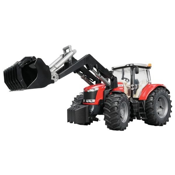 Massey Ferguson 7600 játék traktor homlokrakodóval,  Bruder