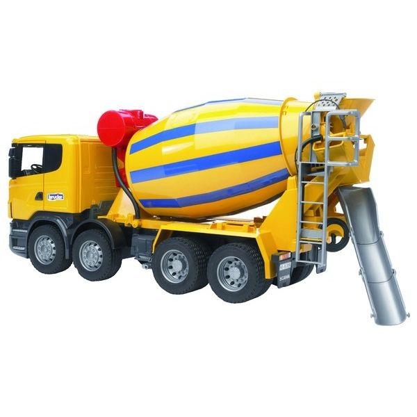 Scania játék betonkeverő tehergépkocsi, Bruder