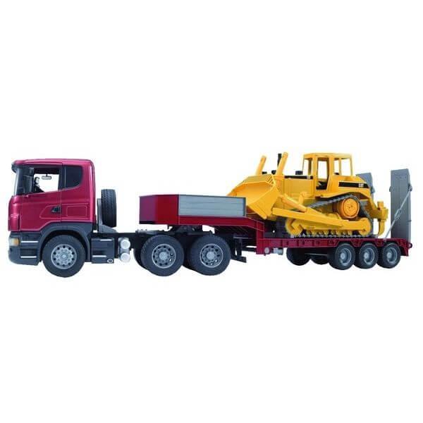 Scania játék teherautó trélerrel és buldózerrel,  Bruder