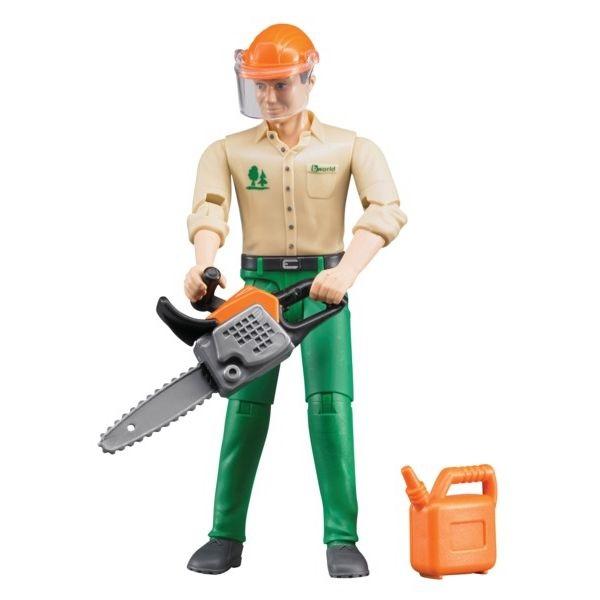 Favágó játékfigura erdészeti eszközökkel,  Bruder
