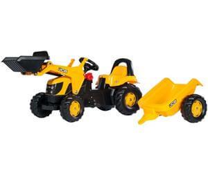 RollyKid JCB pedálos traktor homlokrakodóval és utánfutóval, Rolly Toys
