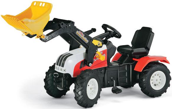Steyr CVT 170 pedálos traktor homlokrakodóval és légtömlős gumiabroncsokkal, RollyToys