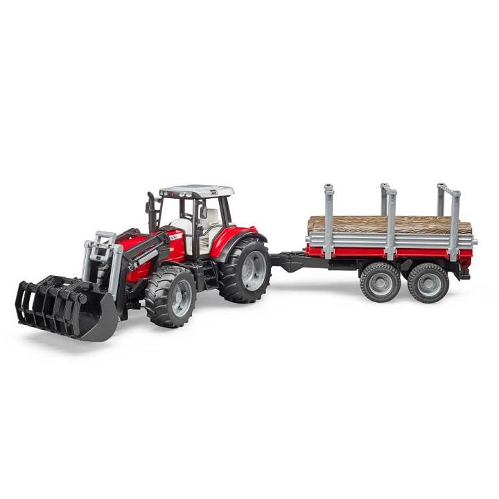 Massey Ferguson traktor rönkszállító pótkocsival