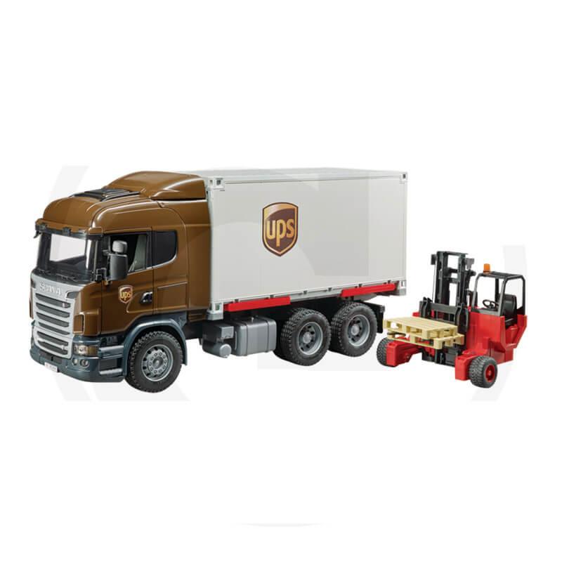 Bruder UPS Scania teherautó -  Villástargoncával