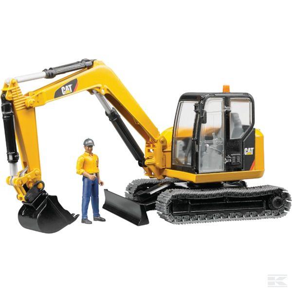 Cat Mini kotrógép építőmunkással