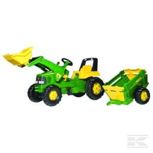 John Deere traktor rakodóval és utánfutóval