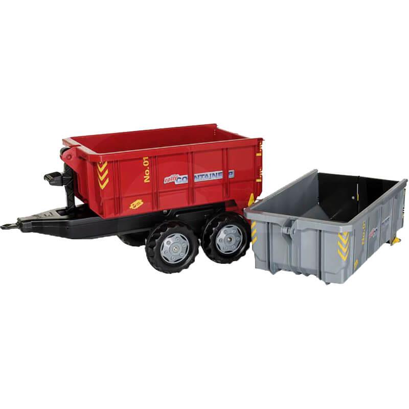 Rolly Toys Kéttengelyes konténerszállító pótkocsi ezüst és piros konténerrel
